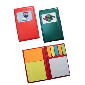 Leatherette Notebook w/Sticky Notes & Flags - Full Color